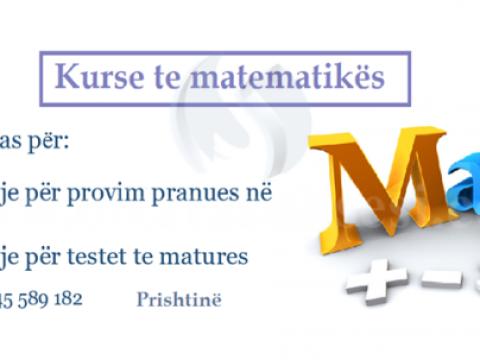 Mbajme kurse te matematikes per pergaditje te testit te matures dhe provimit pranues